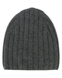 Theory - Gray Ribbed Knit Beanie - Lyst