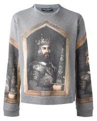 Dolce & Gabbana - Gray King Print Sweatshirt for Men - Lyst