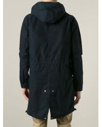 Julien David - Blue Striped Panel Hooded Coat for Men - Lyst