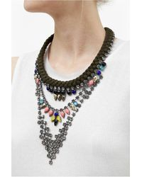 French Connection - Multicolor Three Tier Embellished Necklace - Lyst