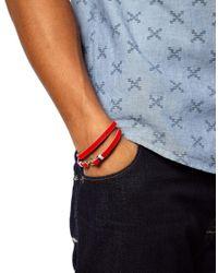 Stussy | Red Leather Hook Wrap Bracelet for Men | Lyst