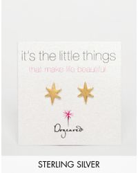 Dogeared | Metallic Gold Plated Bright Star Stud Earrings | Lyst
