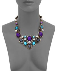 Oscar de la Renta | Blue Silver-tone, Faux Pearl And Resin Necklace | Lyst