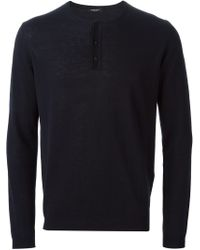 Roberto Collina - Blue Buttoned Sweater for Men - Lyst