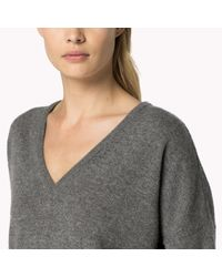 Tommy Hilfiger | Gray Cashmere V-neck Sweater | Lyst