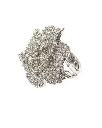 Alexander McQueen - Metallic Crystalembellished Flower Ring - Lyst