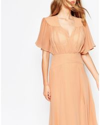 ASOS | Yellow Maxi Dress With Stitch Shoulder Detail | Lyst