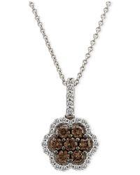 Le Vian | Brown Chocolatier® Diamond Flower Pendant Necklace (5/8 Ct. T.w.) In 14k White Gold | Lyst