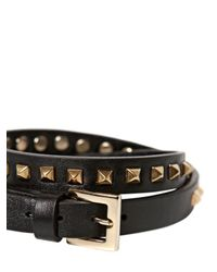 Valentino - Black Studded Leather Wrap Bracelet - Lyst