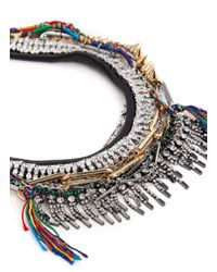 Venna - Multicolor Crystal Spike Fringe Threadwork Necklace - Lyst