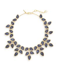 Lele Sadoughi - Blue Tropicana Havana Howlite, Marble & 14k Goldplated Palm Leaf Bib Necklace - Lyst