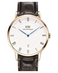 Daniel Wellington | Brown 'dapper York' Leather Strap Watch | Lyst