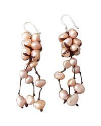 Aeravida - Cluster Drop Pink Pearls .925 Silver Earrings - Lyst