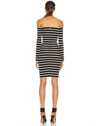Nicholas - Black Riviera Striped Off The Shoulder Poly Blend Dress - Lyst