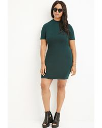 Forever 21 | Green Plus Size Textured Mock Neck Shift Dress | Lyst