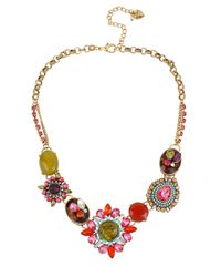 Betsey Johnson | Metallic Mixed Crystal And Gemstone Statement Necklace | Lyst