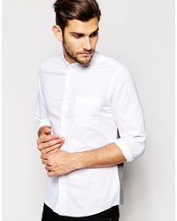 ASOS - White Oxford Shirt With Jersey Back for Men - Lyst