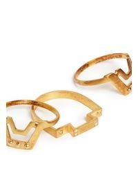 Maria Black | Metallic Stud Geometric Shape Three Ring Set | Lyst