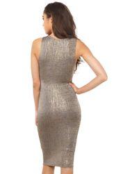 AKIRA - Metallic In Case You Forgot Gold Dress - Gold - Lyst