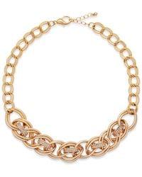 INC International Concepts - Metallic Gold-tone Pavé Circle Link Necklace - Lyst