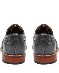 Foot The Coacher - Gray Brushed Grey Stanley Leather Shoes for Men - Lyst