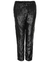 TOPSHOP - Black Sequin Slim Trousers - Lyst