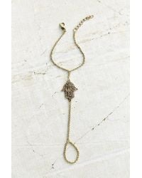 Urban Outfitters - Metallic Hamsa Ring To Wrist Bracelet - Lyst