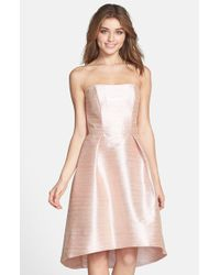 Alfred Sung | Pink Strapless High/low Dupioni Dress | Lyst
