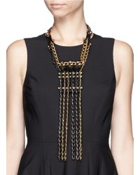 Lanvin | Metallic Leather Strap And Crystal Nutbolt Fringe Chain Necklace | Lyst