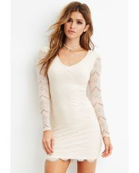 Forever 21 | White Eyelash Lace Bodycon Dress | Lyst