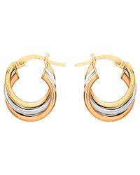Ib&b | Metallic 9ct Gold Three Colour Hoop Earrings | Lyst