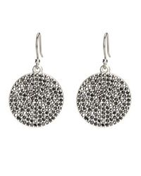 Lucky Brand | Metallic Silvertone Pave Crystal Disc Earrings | Lyst