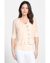 Eileen Fisher - Natural Linen Blend Crop Cardigan - Lyst