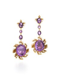 Fred Leighton | Purple Georgian Scrolling Amethyst Drop Earrings | Lyst