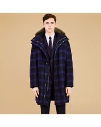 Paul Smith - Blue Men's Navy Wool-check Down-filled Parka for Men - Lyst