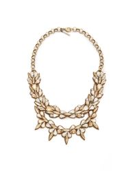 Deepa Gurnani | Metallic Crystal Layered Necklace - Clear/Gold | Lyst