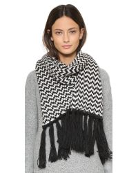 Bickley + Mitchell | Black Fringe Scarf | Lyst