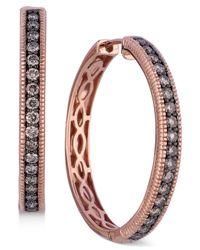 Le Vian | Brown Chocolate Diamond Hoop Earrings In 14k Rose Gold (5/8 Ct. T.w.) | Lyst