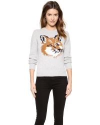 Maison Kitsuné - Gray Fox Head Pullover Sweater - Light Grey Melange - Lyst