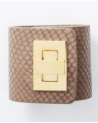 Ann Taylor | Natural Wide Embossed Snake Turnlock Cuff | Lyst
