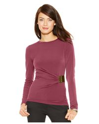Michael Kors | Purple Michael Petite Logo-plate Hardware Top | Lyst