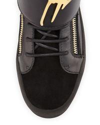 Giuseppe Zanotti - Black Logo Strap Leather High-top Sneaker for Men - Lyst