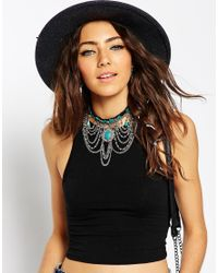 ASOS - Blue Draping Chains & Stone Choker Necklace - Lyst