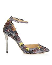 Jimmy Choo | Gray Lorelai 100 Anthracite Fine Glitter Fabric Pumps With Pecan Leather Flower Mix Embellishment | Lyst