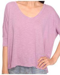 Forever 21 - Purple Oversized V-neck Tee - Lyst
