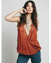 Free People | Brown Intimately Womens Lacey Surplice Cami | Lyst
