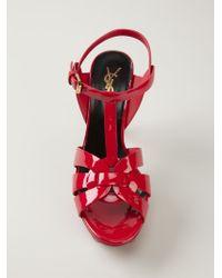 Saint Laurent - Red 'tribute' Sandals - Lyst