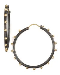 Armenta | Blue Midnight Granulated Hoops | Lyst