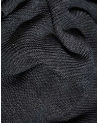 Pieces - Gray Ribbed Oversized Blanket Scarf - Dark Grey Melange - Lyst