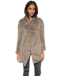 June | Gray Oversized Fur Coat | Lyst